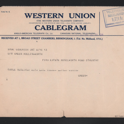 Telegram from Alan Green to his Father